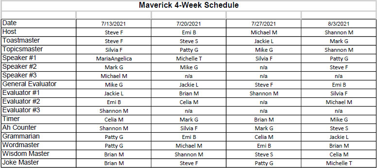 Curren Schedule